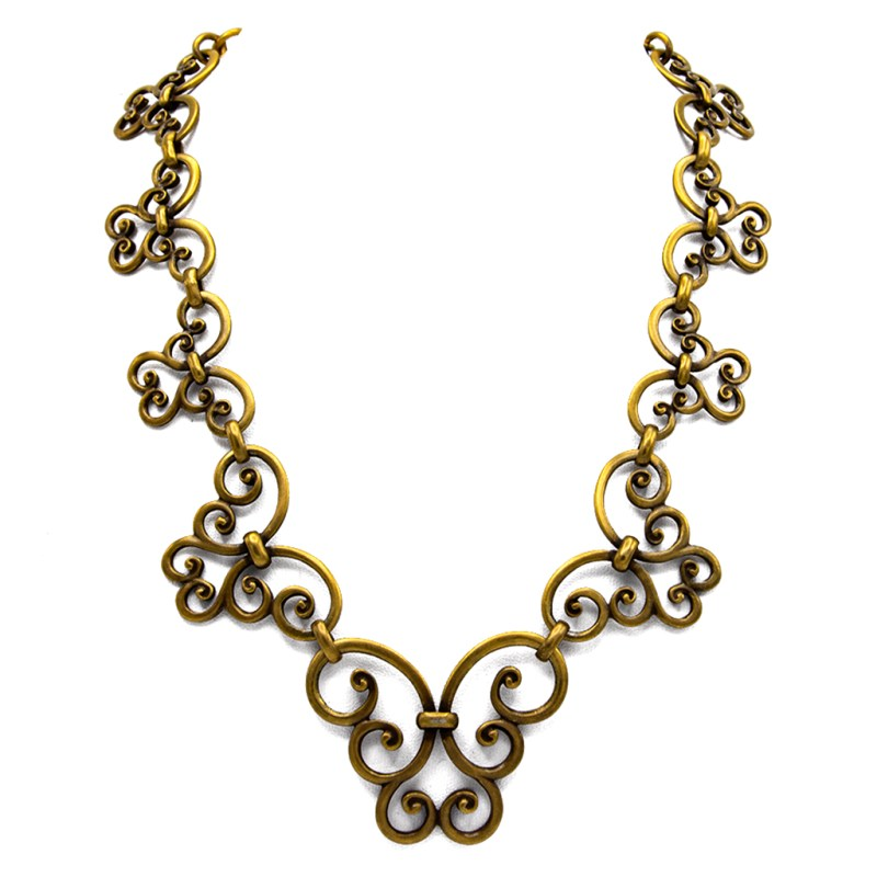 """YSL Limited Edition 19"""" Graduated Scrollwork Antiqued Gold Necklace, 1985"""