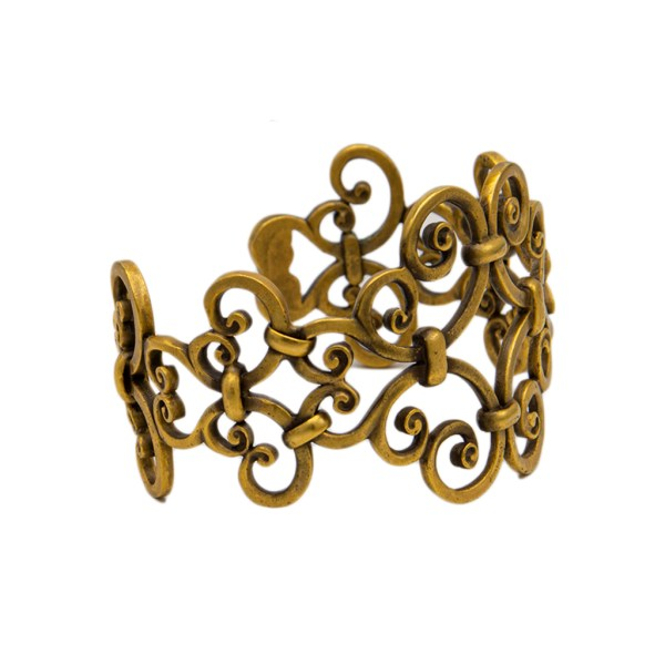 YSL Limited Edition Antiqued Gold Scrollwork Cuff side view, 1985