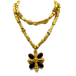 "Chanel 28"" Faceted Bead Chain with Cross Pendant with Brown Stones, Autumn 1997"