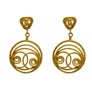 """Rare 3 9/16"""" Chanel Earrings with a gilt rope twist logo on rope twist triangular tops suspending a French wrapped rope twist pendant of concentric & swirled circular design. 1991"""