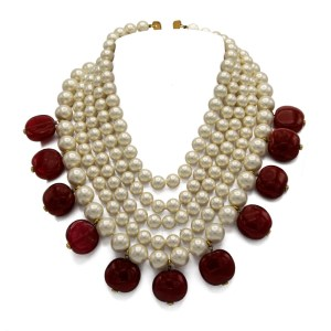 Chanel 5 Nesting Strand Pearl necklace with Gripoix Ruby Drops, 1990