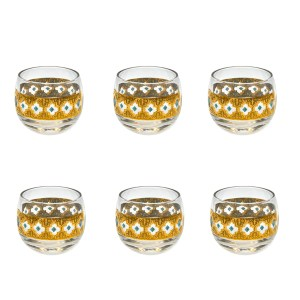 "Culver ""Seville"" Turquoise & 22k Gold Small Roly Poly Glasses, Set of Six (6)"