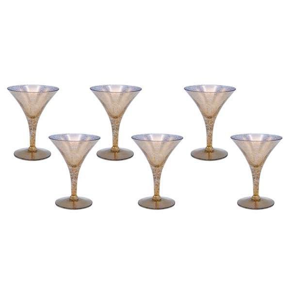 Dorothy Thorpe Gold Fleck Large Martini Glasses, Set of Six (6)