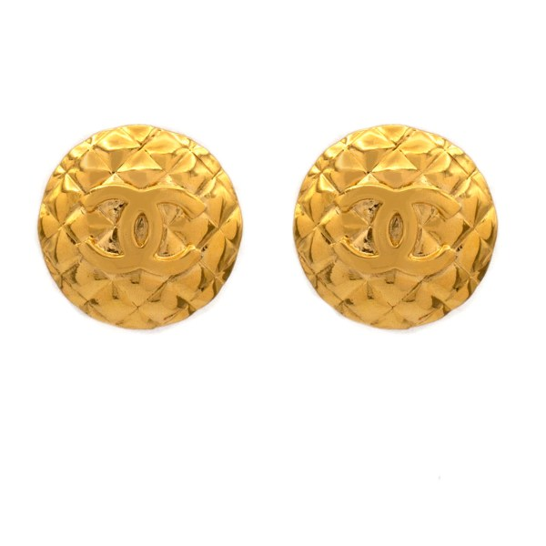 "Chanel 7/16"" Quilted Dome Logo Earrings, 1970"