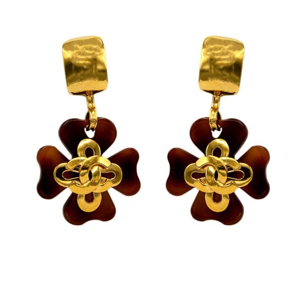 Chanel Tortoise Acrylic Four Leaf Clover Drop Earrings, Spring 1995