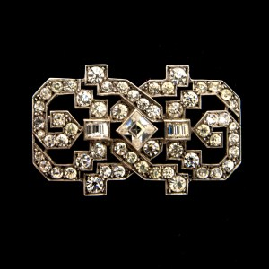 "French Art Deco 2"" Sterling & Paste Openwork Brooch, 1925"
