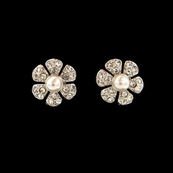 Paste Flower Head Earrings with Pearl Center, 1950