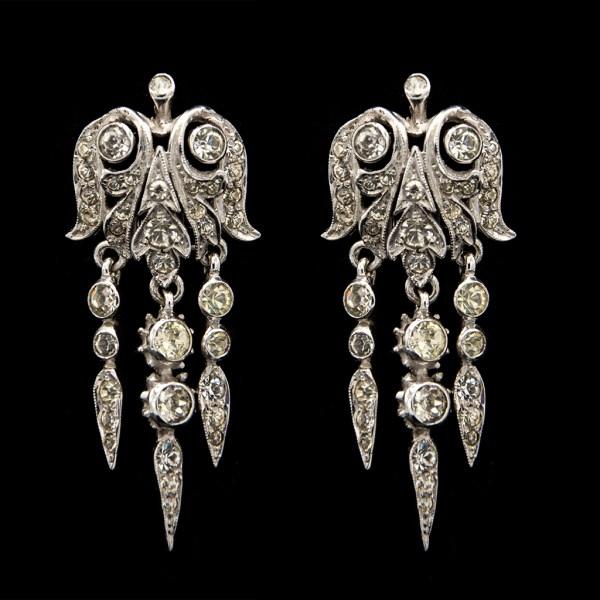 R. DeRosa Rhodium Plated Sterling & Paste Bell Shape Girandole Earrings, 1945