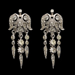 R. DeRosa Rhodium Plated Sterling & Paste Bell Shape Girandole Earrings, 1945