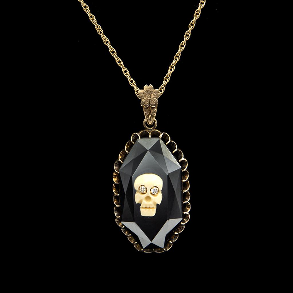 Diamond eye Memento Mori Skull on Faceted Hematite Pendant