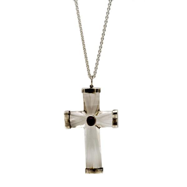 1980s Rock Crystal & Amethyst Cross Necklace