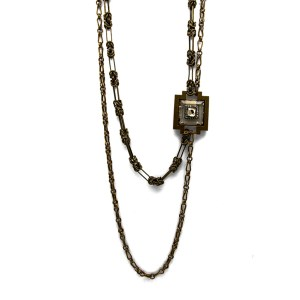 "Lanvin Double Strand Asymmetrical Antiqued Bronze 33"" Necklace, 2000"