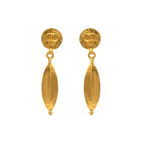 "Chanel 3 1/4"" Gilt Dangling Ellipse Earrings, Spring 1998"