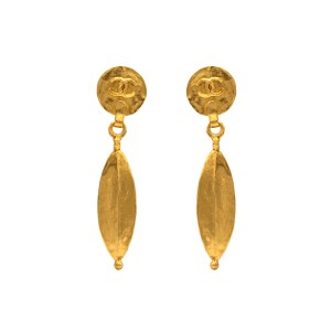 "Chanel 3 1/4"" Gilt Dangling Ellipse Earrings, Spring 1998"