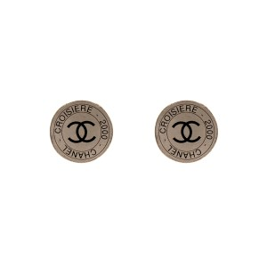 Chanel Silver & Black Disk Earrings, Cruise 2000