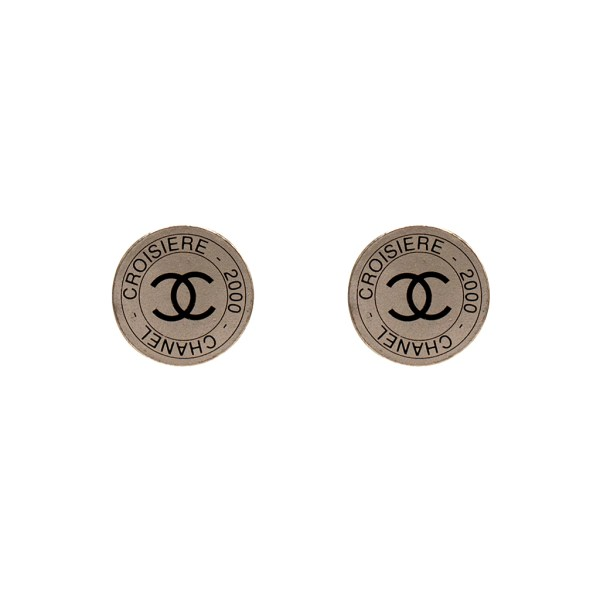 Chanel Silver & Black Disk Earrings, Cruise 2000