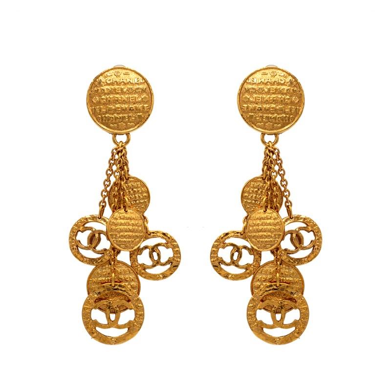 """Chanel 4 1/4"""" Gilt Coin Tassel Earrings, 1991"""