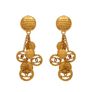 "Chanel 4 1/4"" Gilt Coin Tassel Earrings, 1991"