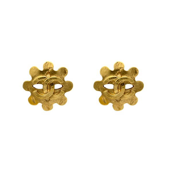 "Chanel 1"" Lobed Disk Earrings, Spring 1994"