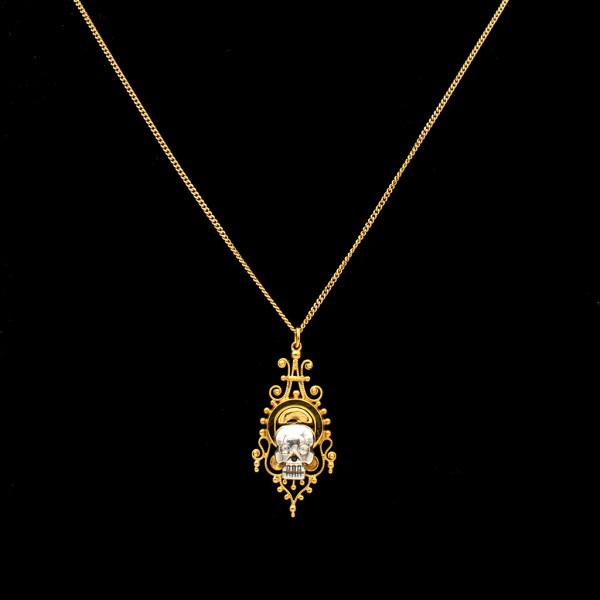 Sterling Memento Mori with Diamond Eyes on Victorian 10k Wirework Pendant
