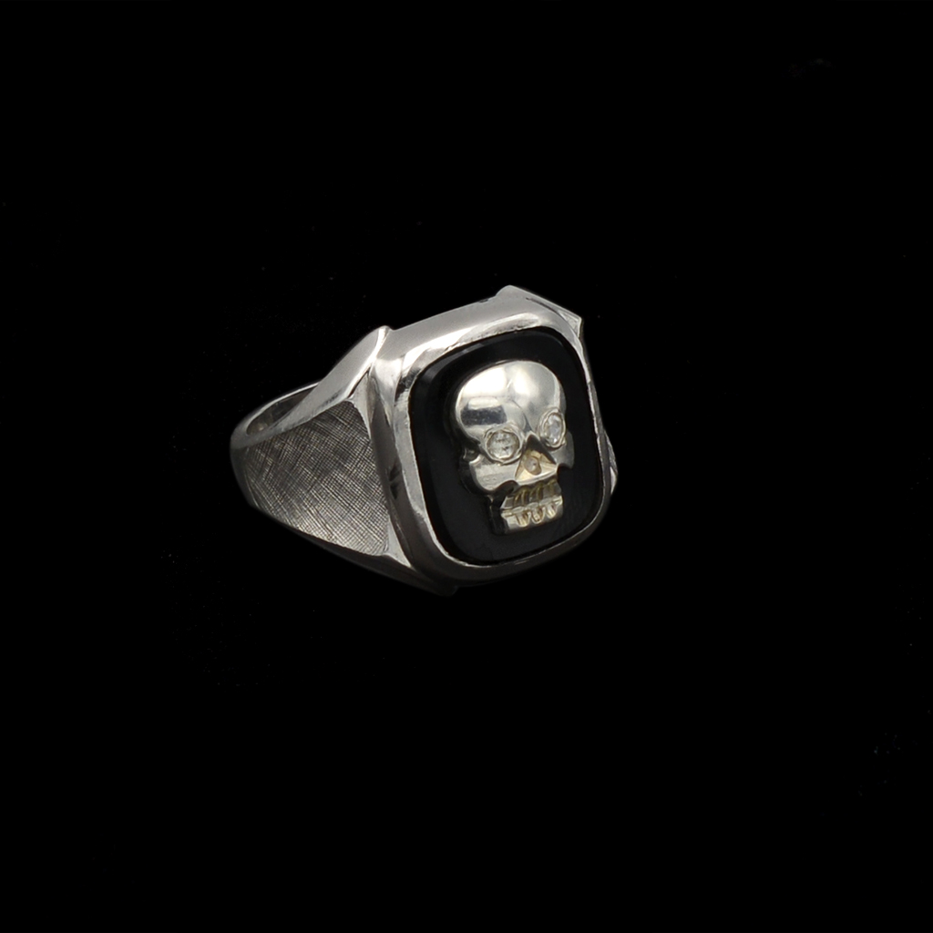 Memento Mori Sterling & Onyx Ring with Diamond Eye Bone Skull