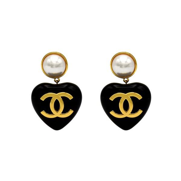 "Chanel 2 3/4"" Black Acrylic Puffy Heart Earrings, Spring 1994"
