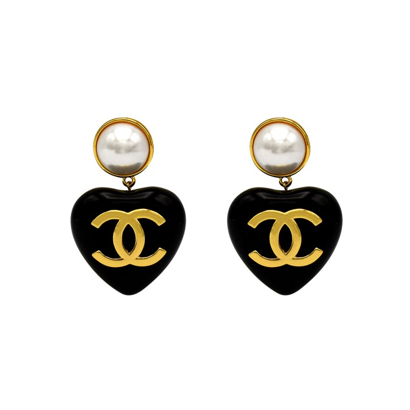 "Chanel 2 3/4"" Black Acrylic Puffy Heart Earrings, Spring 1994"