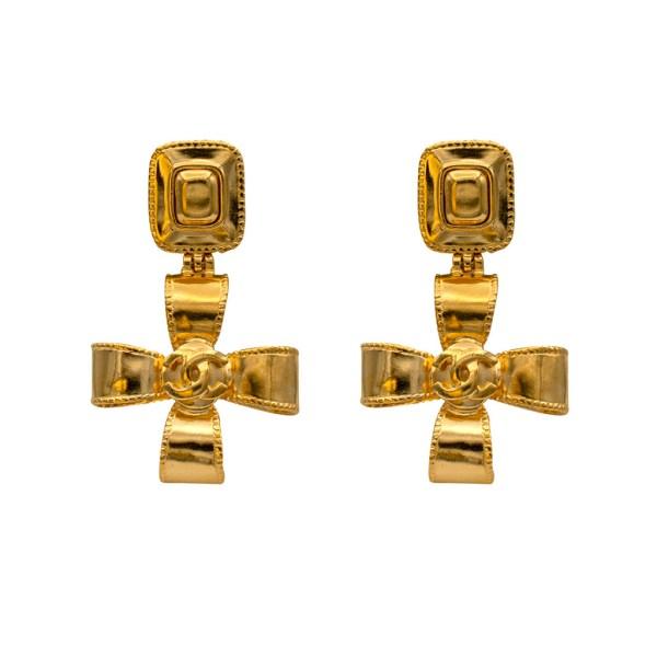 """Chanel 2 1/4"""" Dimensional Ribbon Cross Earrings, Autumn 1997"""
