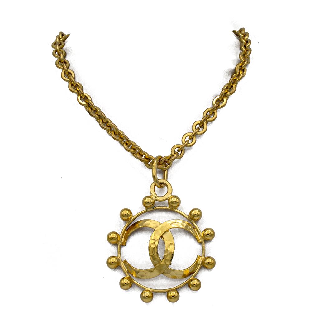 "Chanel 28 1/2"" Beaded Logo Circle Pendant Necklace, 1988"