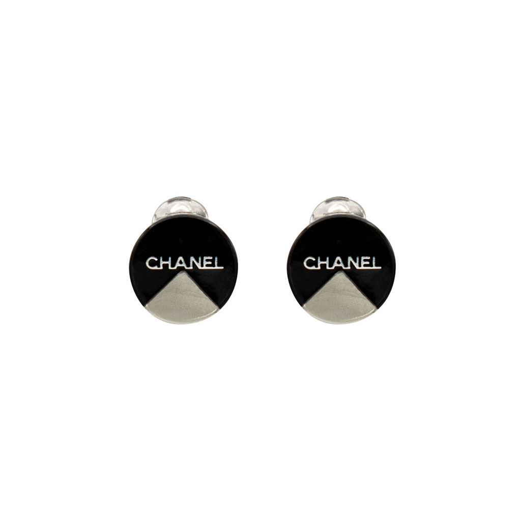 """Chanel 3/4"""" Black Acrylic Disk Earrings with Silver Inset, Autumn 2000"""
