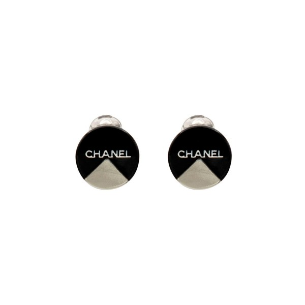 "Chanel 3/4"" Black Acrylic Disk Earrings with Silver Inset, Autumn 2000"
