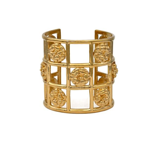 Chanel Gilt Camellia Checkerboard Cuff Bracelet, 1970