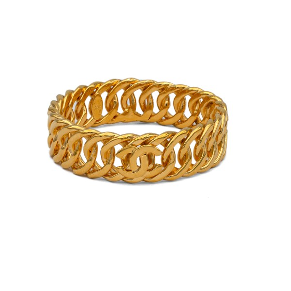 Chanel Gilt Curb Chain Bangle with 3 Logos, 1990