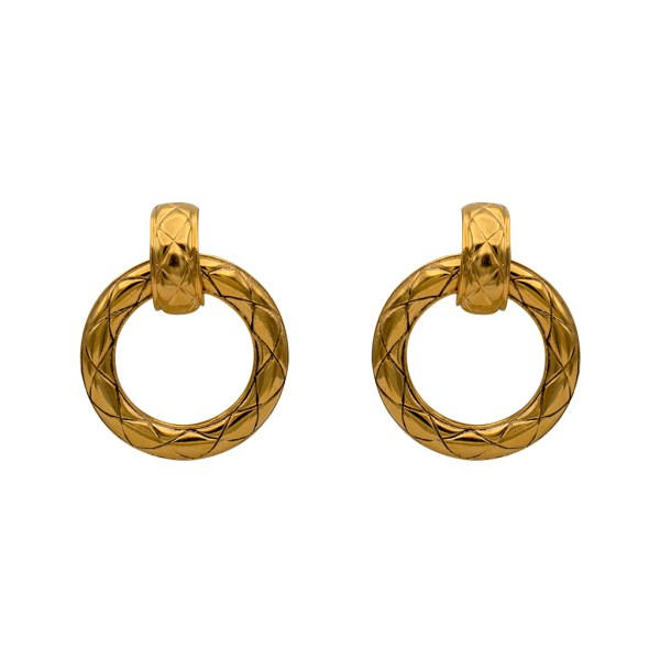 "1 3/8"" Chanel gilt quilted doorknocker earrings with removable hoop drop - 1990"