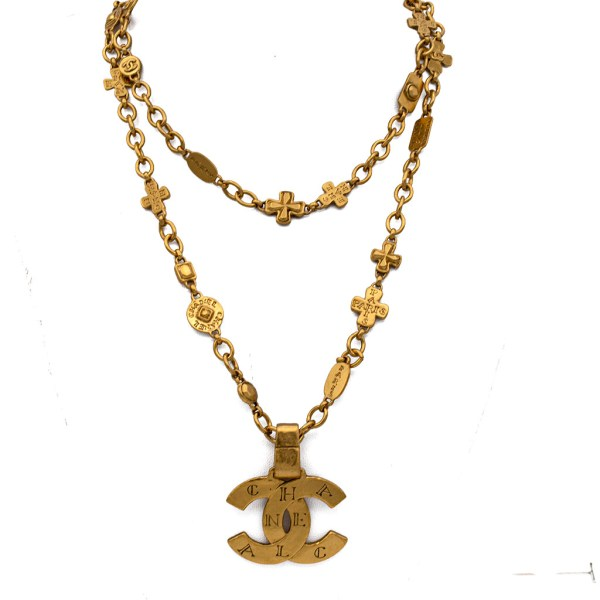 """Chanel 38"""" Necklace with Logo Pendant, Autumn 1999"""