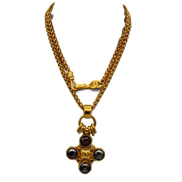 """Chanel 31 1/2"""" Gilt Wheat Chain with Quatrefoil Pendant, Autumn 1997"""