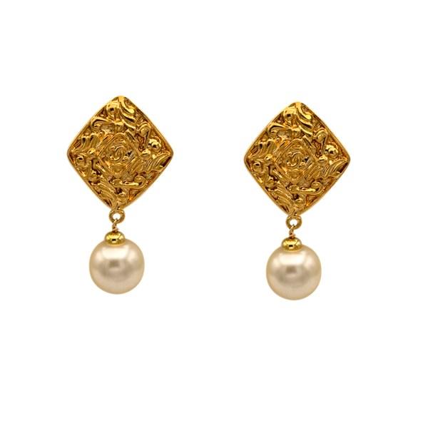 "Chanel 2 1/8"" Gilt Diamond Shape Earrings with Pearl Drop, 1990"