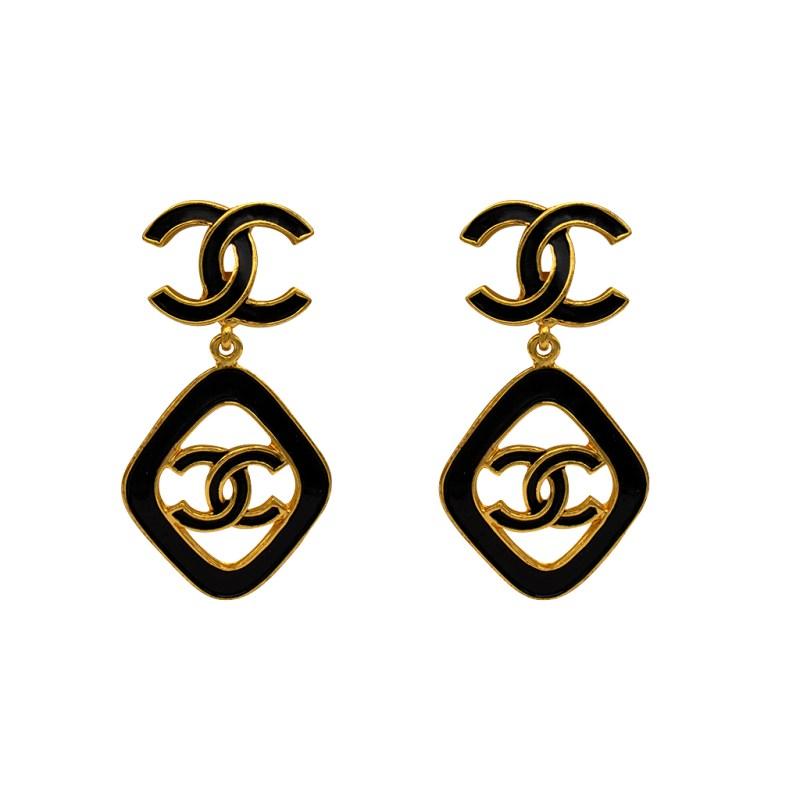 """Rare Chanel 2 1/2"""" Gilt & Black Enamel Dangle Earrings, Cruise 1993"""