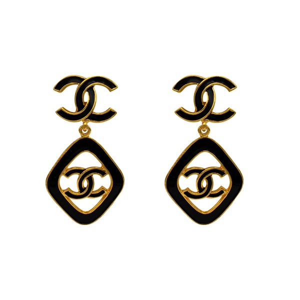 "Rare Chanel 2 1/2"" Gilt & Black Enamel Dangle Earrings, Cruise 1993"