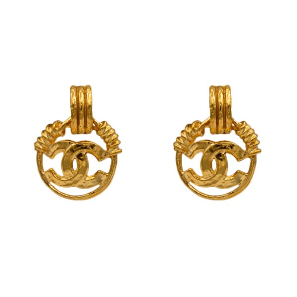 Chanel Gilt, Wire Wrapped Doorknocker with Logo Hoop Earrings, Spring 1994