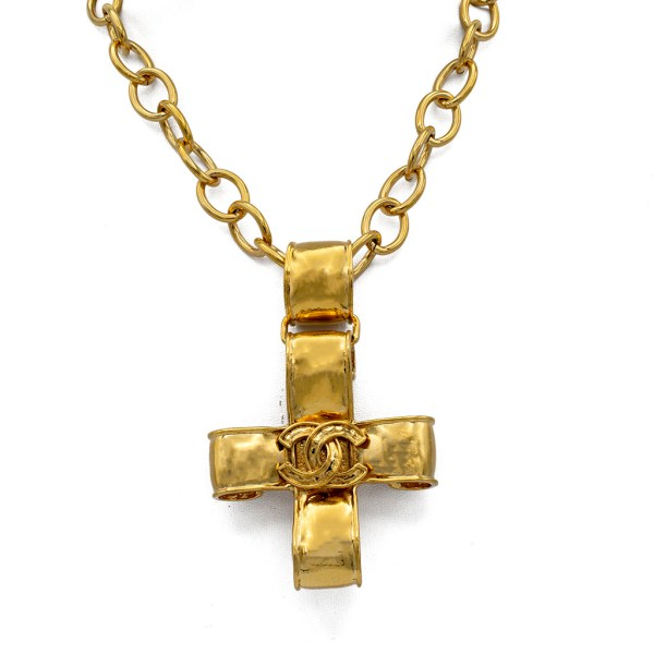 "Chanel 35"" Gilt Articulated Curled Cross Pendant Necklace, Spring 1994"