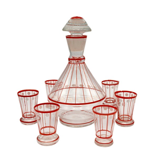 Art Deco Red & White Hand Painted Polka Dot Decanter & Cordial Glasses, Set of Six (6)