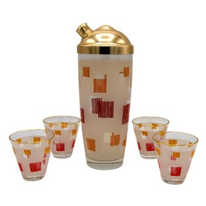 Art Deco Frosted Red, White, Yellow & Gold Geometric Design Shaker & Cordials Glasses, Set of Four (4)
