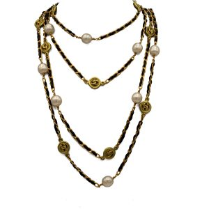 Chanel 83″ Gilt Curb Chain with Leather, Pearls & Logo Stations, Autumn 1994