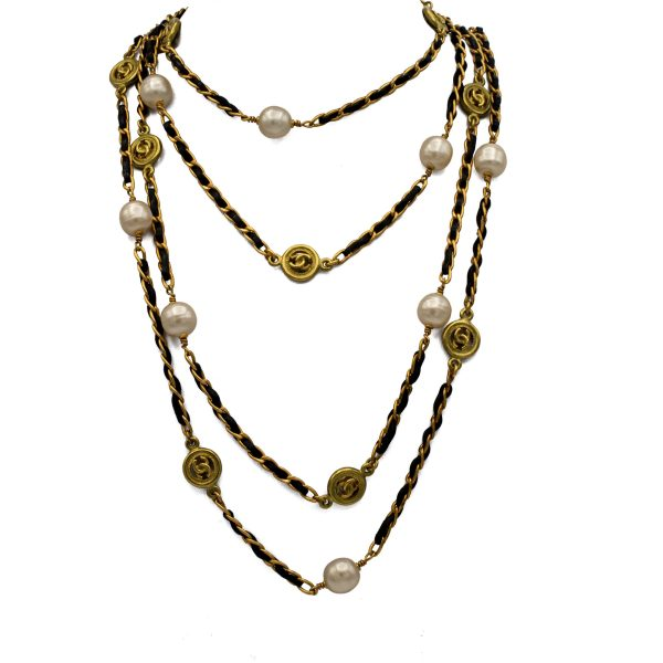 "Chanel 83"" Gilt Curb Chain with Leather, Pearls & Logo Stations, Autumn 1994"