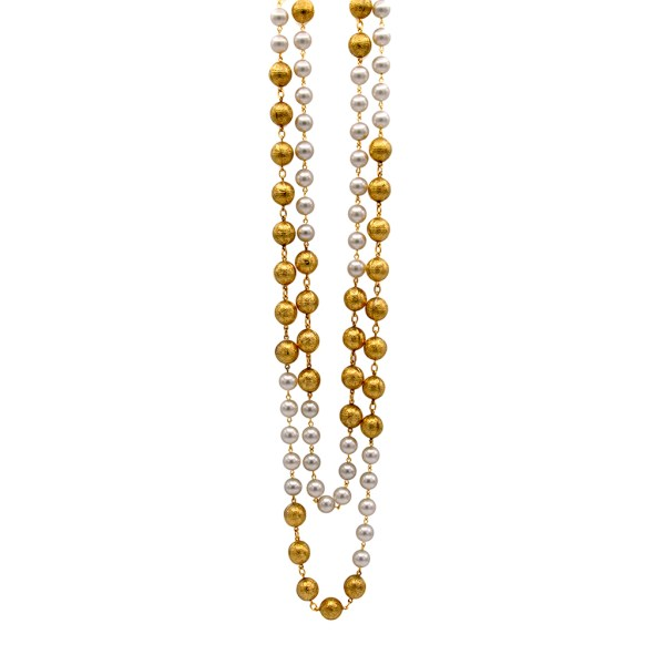 """Chanel 34 1/2"""" Double Strand Gilt Embossed Beads Alternating with Pearls, 1990"""