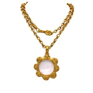 "Chanel 36"" Gilt Scalloped Edge Lorgnette Pendant Necklace, Spring 1996"
