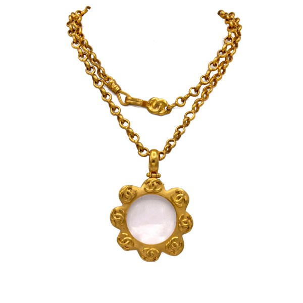 "Chanel 36"" Gilt Scalloped Edge Lorgnette Pendant Necklace, Spring 1996"