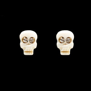 Natural Bone & Diamond Eye Memento Mori Skull Stud Earrings