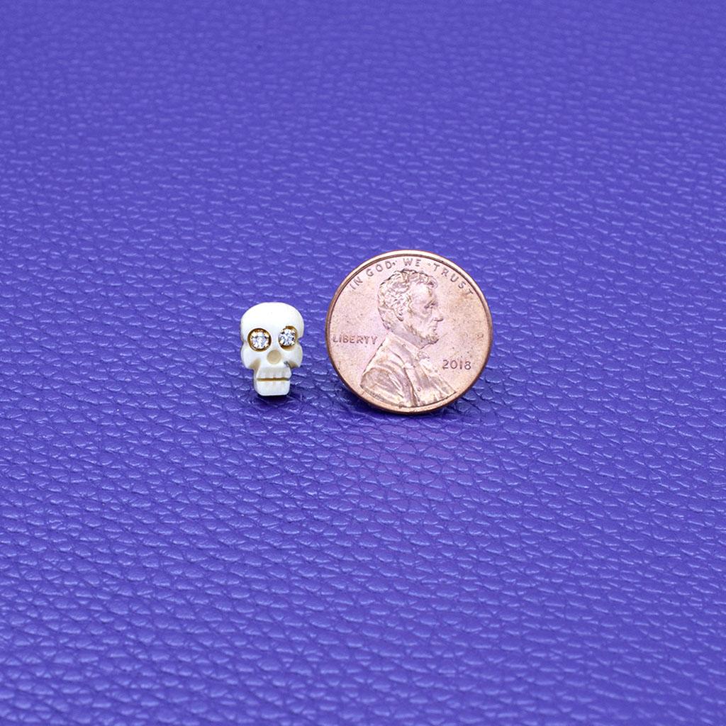 Natural Bone & Diamond Eye Memento Mori Skull Stud Earrings